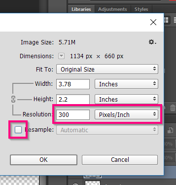 Verifying the resolution of your final artwork.